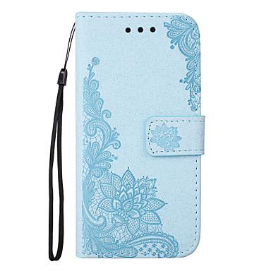 hoesje Voor Huawei Portemonnee Kaarthouder met standaard Flip Reliëfopdruk Patroon Magnetisch Volledige behuizing Lace Printing Bloem Hard