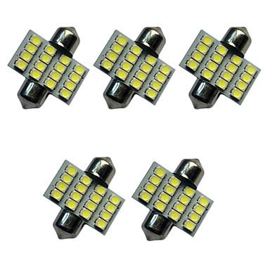 5pcs auto festoon dome lampă 31mm 1.5w 16smd 3528 cip 80-100lm alb 6500-7000k dc12v lectură lumina plăcuței de înmatriculare lumini