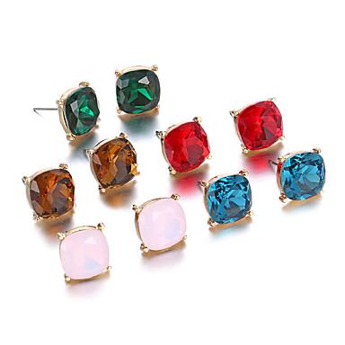 Damen Ohrstecker Synthetischer Diamant Luxus Einzigartiges Design Natur Grabado USA Handgemacht Elegant Seitwärts Strass Chrom