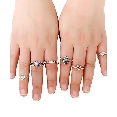 Damen Bandringe Ring Stulpring Modisch individualisiert Rock Multi-Wege Wear Metalllegierung Harz Aleación Runde Form Schmuck Für
