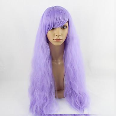 Femei Peruci Sintetice Fără calotă Mediu Drept Kinky Straight Violet Perucă Cosplay costum Peruci