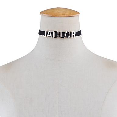 للمرأة Alphabet Shape مخصص تصميم فريد مجوهرات الأولية موضة euramerican في قلادات ضيقة مجوهرات قماش قطيفة سبيكة قلادات ضيقة ، لباس يومي