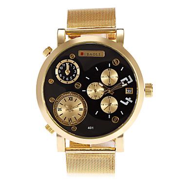 זול שעוני גברים-JUBAOLI בגדי ריקוד גברים שעון יד קווארץ עור זהב לוח שנה שלושה אזורי זמן מגניב אנלוגי אופנתי שעון קריאייטיב ייחודי - שחור כחול כהה אדום שנה אחת חיי סוללה / צג גדול / SSUO LR626
