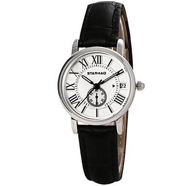 Dames Modieus horloge Kwarts Leer Band Zwart Zilver Bruin