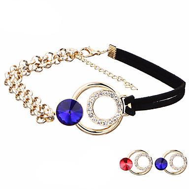Damen Luxus Böhmische Kristall Strass Leder Halsketten Kragen - Luxus Geometrisch Kreisförmiges Anhänger Stil Retro Strass Böhmische