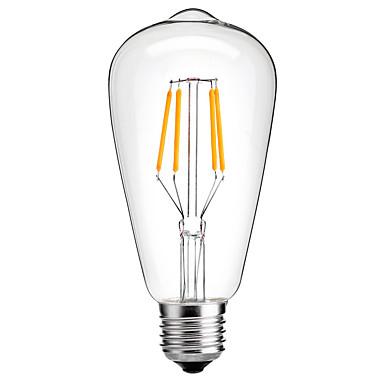 HRY 1 개 4W 350-450 lm E26/E27 LED필라멘트 전구 ST64 4 LED가 COB 장식 따뜻한 화이트 차가운 화이트 220V-241V