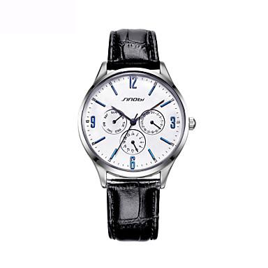 Herrn Armbanduhren für den Alltag / Modeuhr Japanisch Echtes Leder Band Charme Schwarz / Braun