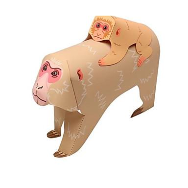 قطع تركيب3D نموذج الورق أشغال الورق مجموعات البناء قرد الحيوانات اصنع بنفسك كلاسيكي كرتون للأطفال للجنسين هدية