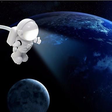Usb condus de lumina de noapte de desene animate forma alb spaceman pc putere banca de alimentare dc 5v lampă de masă