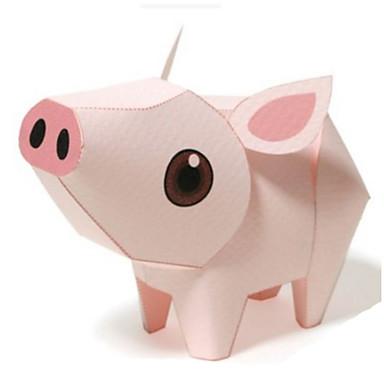 قطع تركيب3D نموذج الورق أشغال الورق مجموعات البناء مربع خنزير 3D الحيوانات اصنع بنفسك كلاسيكي كرتون للجنسين هدية