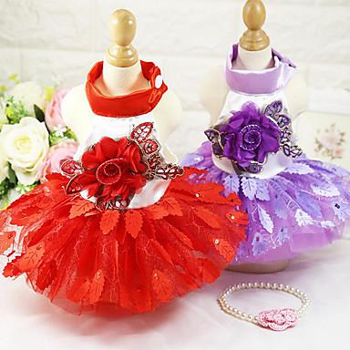 Câine Σμόκιν Rochii Îmbrăcăminte Câini Nuntă Floral/Botanic Mov Rosu Costume Pentru animale de companie