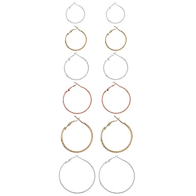 للمرأة خلف القرط أقراط قطرة أقراط طارة تصميم دائري euramerican في أسلوب بسيط موضة سبيكة معدنية معدن سبيكة Circle Shape Geometric Shape