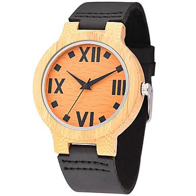 Heren Horloge Hout Unieke creatieve horloge Polshorloge Modieus horloge Sporthorloge Vrijetijdshorloge Kwarts houten Echt leer Band Luxe