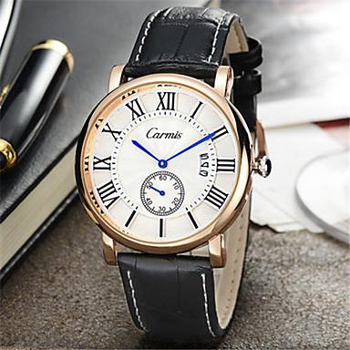 Heren Modieus horloge Kwarts Leer Band Zwart Bruin