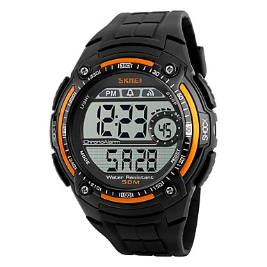 Heren Digitaal horloge Sporthorloge Digitaal Waterbestendig Stopwatch PU Band Cool Zwart