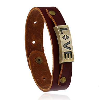 Herrn Damen Leder Lederarmbänder - Modisch Geometrische Form Braun Armbänder Für Hochzeit Party Sport