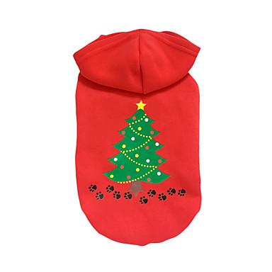 كلب هوديس ملابس الكلاب عيد الميلاد الأزهار/النباتية أحمر