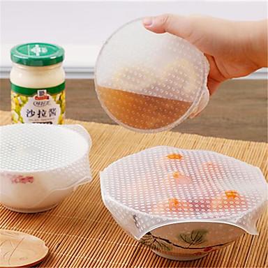 4 unids alimentos multifuncionales mantenimiento fresco saran wrap herramientas de cocina reutilizables envolturas de alimentos de silicona sellar la cubierta de vacío tapa estiramiento