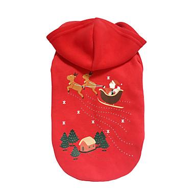 Câine Hanorace cu Glugă Îmbrăcăminte Câini Crăciun Crăciun Ren Rosu Costume Pentru animale de companie