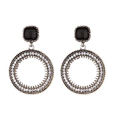 للمرأة أقراط قطرة لؤلؤ تقليدي تصميم فريد دائرة أسلوب بسيط كروم أحجار الراين دائري مجوهرات يوميا فضفاض