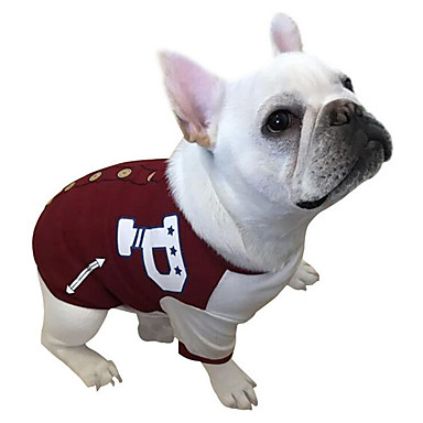 كلب كنزة البيسبول ملابس الكلاب متنفس كاجوال/يومي حرف وعدد أحمر أخضر كوستيوم للحيوانات الأليفة