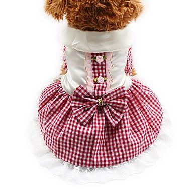 Kat Hond Jurken Smoking Hondenkleding Feest Casual/Dagelijks Bruiloft Geruit Rood Blauw Roze