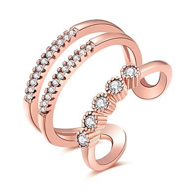 Dames Luxe Bohémien Hypoallergeen Bikini Zirkonia Zirkonia Koper Verzilverd Ring - Geometrische vorm epäsäännöllinen Bloem