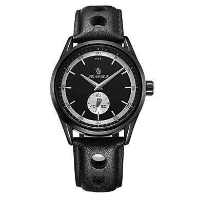 Bărbați Ceas de Mână Japoneză Calendar / Rezistent la Apă / Gravură scobită Piele Autentică Bandă Lux / Modă Negru / Argint / Maro