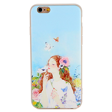 hoesje Voor Apple iPhone 7 Plus iPhone 7 Patroon Reliëfopdruk Achterkant Vlinder Sexy dame Bloem Zacht TPU voor iPhone 7 Plus iPhone 7