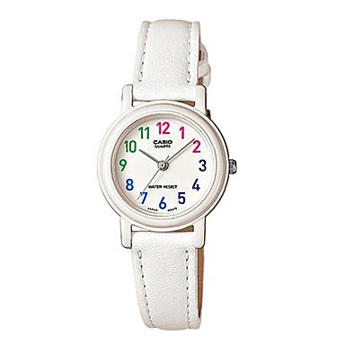 Casio للمرأة ساعات فاشن ساعة المعصم ساعة كاجوال ياباني كوارتز مقاوم للماء جلد فرقة عادية أنيقة الأبيض