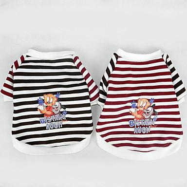 Hond T-shirt Hondenkleding Casual/Dagelijks Gestreept Bruin Rood Kostuum Voor huisdieren