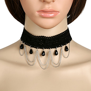 Damen Kreisförmiges Böhmische Quasten Künstliche Perle nette Art Euramerican Halsketten Anhängerketten Perlen Korbwaren Metalllegierung