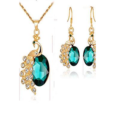 Dames Bruidssieradensets Synthetische Smaragd Synthetische Diamant Modieus Evenement/Feest Dagelijks gebruik Verguld Legering Dier