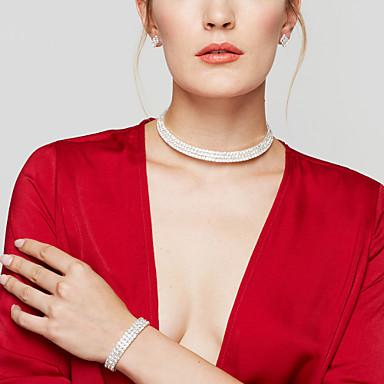 Női Hamis gyémánt Ékszer szett Naušnice / Nyakláncok / Karkötő - Menyasszonyi / elegáns / Divat Circle Shape Ezüst Ékszer készlet /