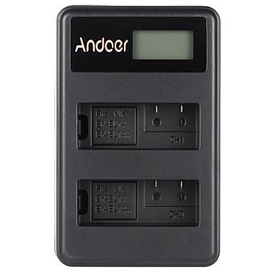 Andoer® en-el14 en-el14a oplaadbare li-ion batterijlader packaged display 2-slot usb kabel kit voor nikon d3100 d3200 d3300 d5100 d5200