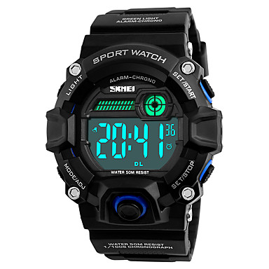 SKMEI Herrn digital Digitaluhr Armbanduhr Militäruhr Sportuhr Japanisch Alarm Kalender Wasserdicht LED Nachts leuchtend Stopuhr Duale
