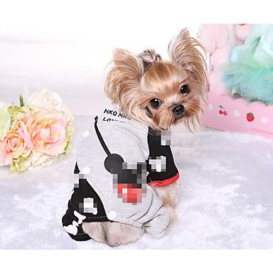 Hund Hündchen Jumpsuit Mäntel Hundekleidung Atmungsaktiv Stilvoll warm halten Süß Patchwork Schwarz Rot Kostüm Für Haustiere