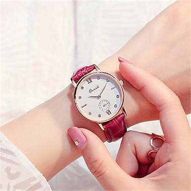 Damen Modeuhr Armbanduhr Quartz Leder Band Rot Braun Rosa Lila