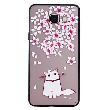 Hülle Für Samsung Galaxy A5(2017) A3(2017) Mattiert Muster Rückseitenabdeckung Katze Blume Hart PC für A3 (2017) A5 (2017) A5(2016)