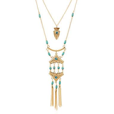 Damen Multi-Wege Wear Schmuck mit Aussage Halsketten Anhängerketten Ferrolegierung Perlen Metalllegierung Harz Strass Metallisch