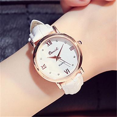 للمرأة ساعات فاشن ساعة المعصم كوارتز جلد فرقة أسود الأبيض الوردي
