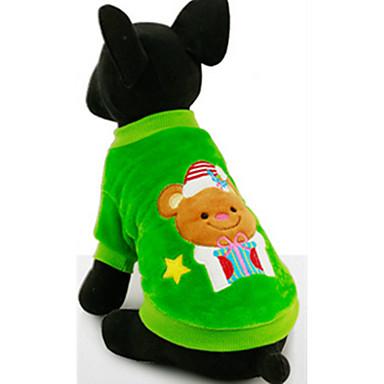 كلب كنزة ملابس الكلاب كاجوال/يومي كرتون أحمر أخضر