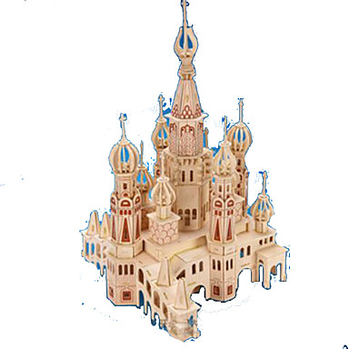 قطع تركيب3D تركيب الخشب نموذج ألعاب مستطيل قصر بناء مشهور معمارية 3D خشب الخشب الطبيعي غير محدد قطع
