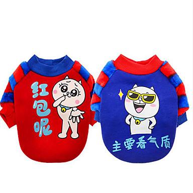 كلب كنزة ملابس الكلاب دافئ كاجوال/يومي كارتون أحمر أزرق كوستيوم للحيوانات الأليفة