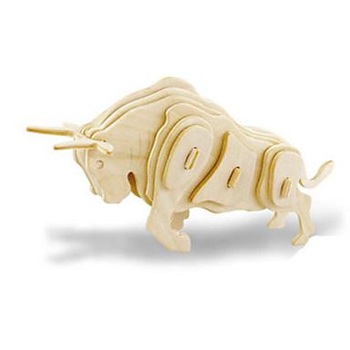 قطع تركيب3D تركيب النماذج الخشبية ديناصور طيارة ثور حيوان 3D اصنع بنفسك خشبي خشب كلاسيكي 6 سنوات فما فوق