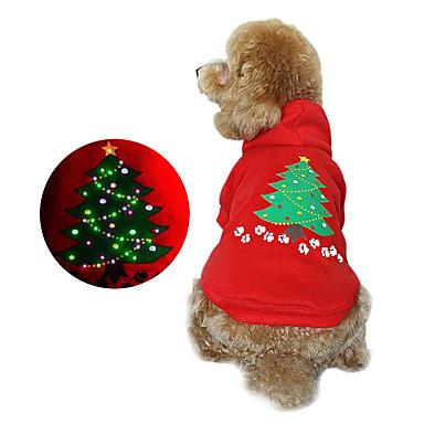 Hund Kapuzenshirts Hundekleidung Weihnachten Blumen/Pflanzen Rot