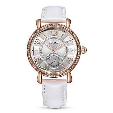 Dames Modieus horloge Kwarts Echt leer Band Wit Blauw