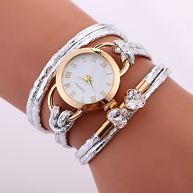 f7f6605f2 Women's Bracelet Watch Wrap Bracelet Watch Quartz Wrap Quilted PU Leather  White / Blue / Red
