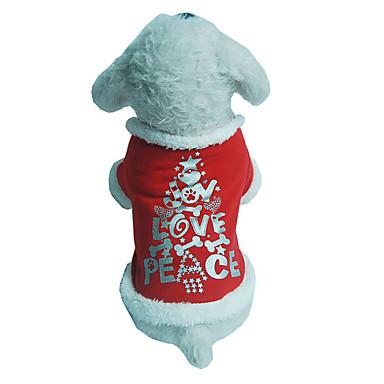 كلب سترة ملابس الكلاب عيد الميلاد حرف وعدد أحمر كوستيوم للحيوانات الأليفة