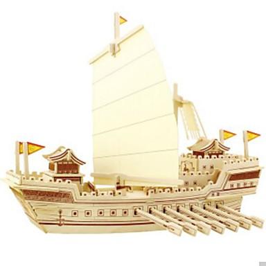 قطع تركيب3D تركيب النماذج الخشبية سفينة حربية سفينة اصنع بنفسك خشب الخشب الطبيعي للأطفال للجنسين هدية